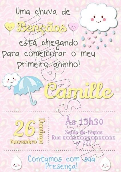 Arte digital convite chuva de bençãos no elo7