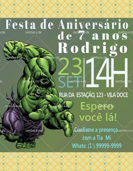 Arte digital convite de aniversário hulk no elo7