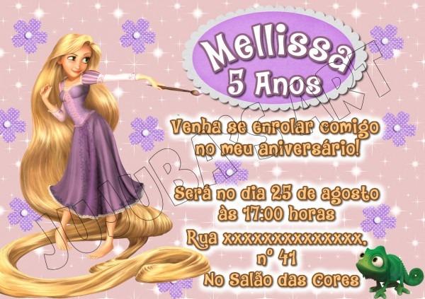Arte digital convite enrolados rapunzel no elo7