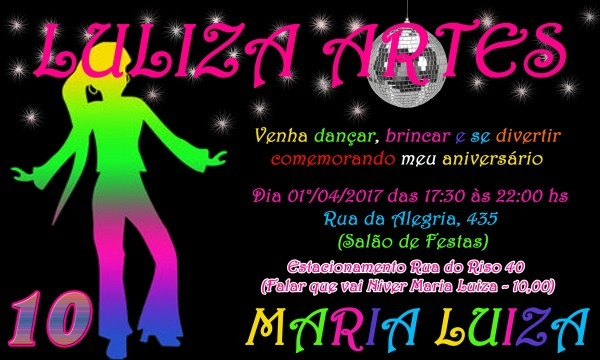 Arte digital convite festa neon no elo7