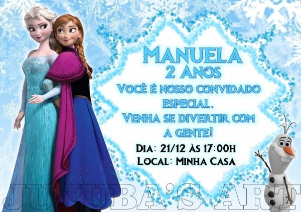 Arte digital convite frozen no elo7