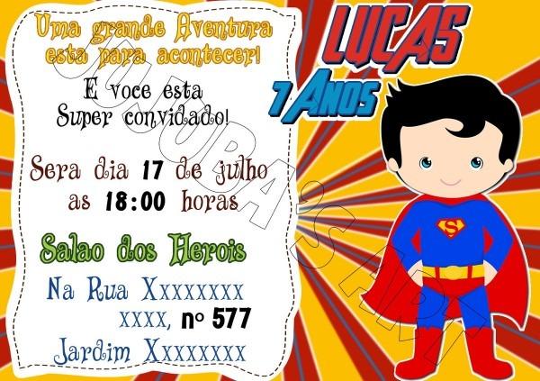 Arte digital convite herois super homem no elo7