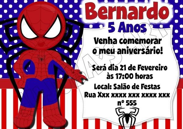 Arte digital convite homem aranha no elo7