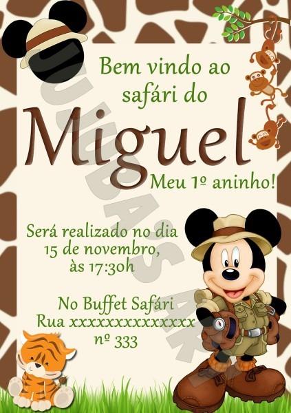 Arte digital convite mickey safari no elo7