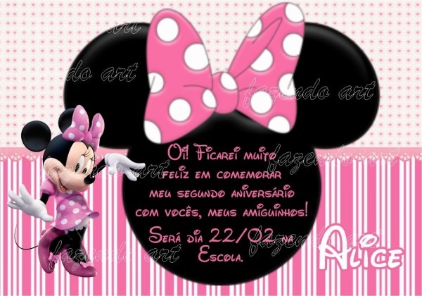 Arte digital convite minnie rosa no elo7