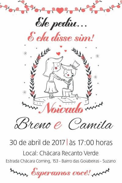Arte digital convite noivado no elo7