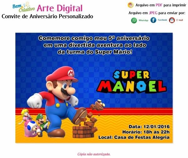 Arte digital convite personalizado infantil super mário
