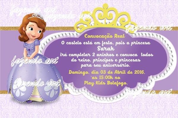 Arte digital convite princesa sofia no elo7