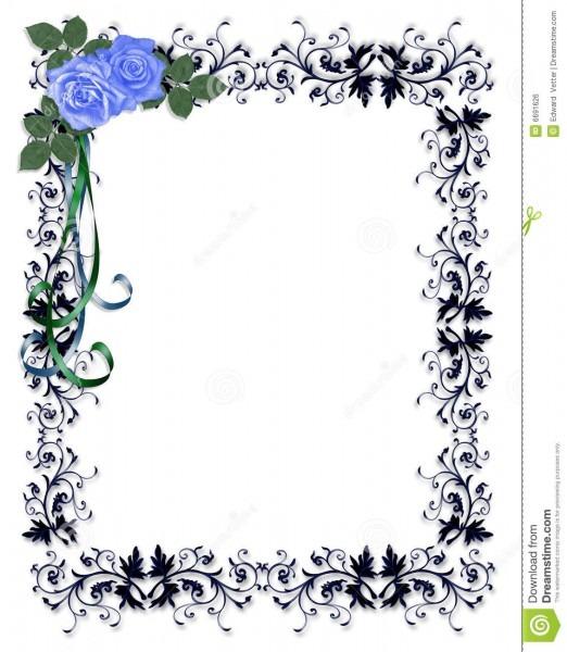 Beira decorativa do convite das rosas azuis ilustração stock