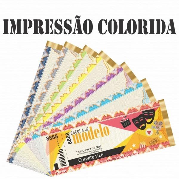 Ingresso 16x6 em papel moeda com 1 canhoto impressão colorida