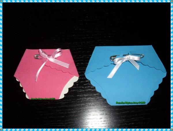 Duendes mágicos artes @  cartão convite com molde de fralda de bebé