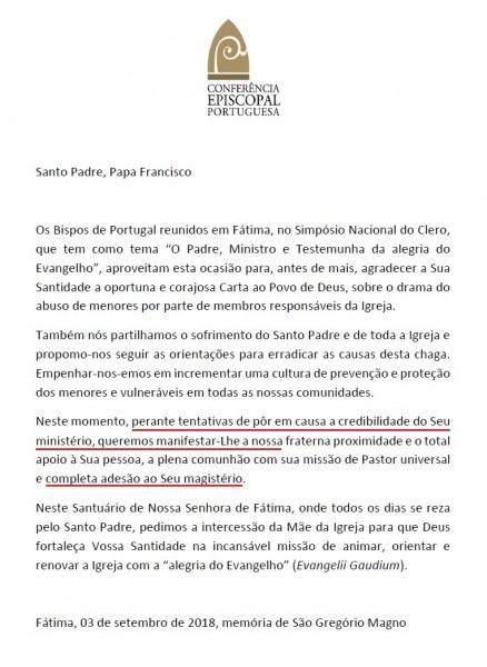 Bispos de portugal unidos em carta de apoio ao papa francisco