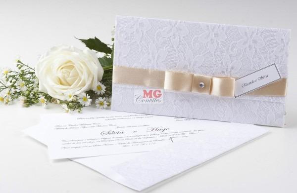 Convites de casamento c renda frança, padrinhos, festa 10und