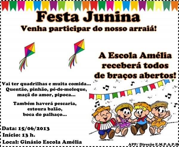 Escola municipal professora amélia poletto hepp  convite festa junina