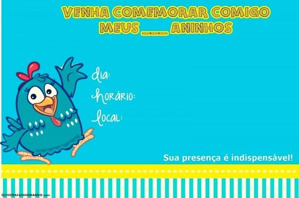 Oliveira fashionando  convites galinha pintadinha para imprimir