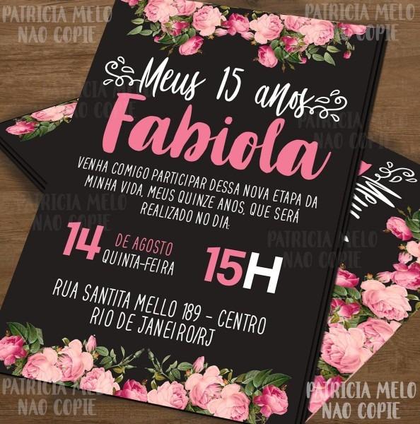 Convite 15 anos arte digital floral