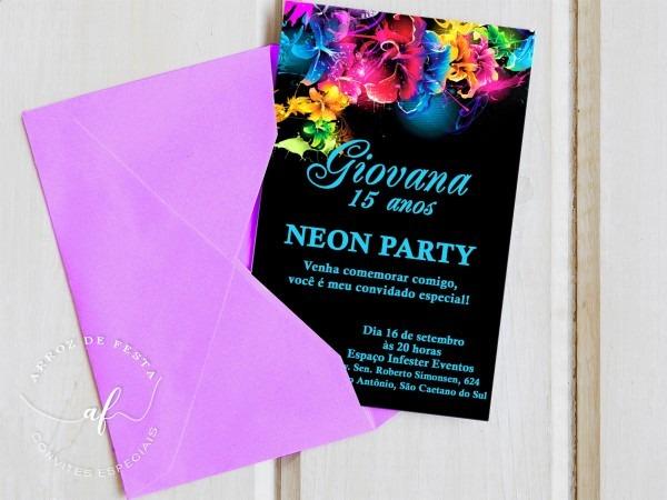 Convite 15 anos neon no elo7