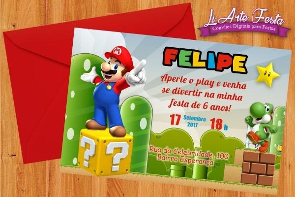 Convite super mário (arte digital) + lacre envelope grátis no elo7