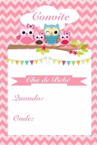 Convites para chá de bebê para editar e imprimir