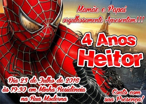 Artes grÁficas   modelo de convite homem aranha
