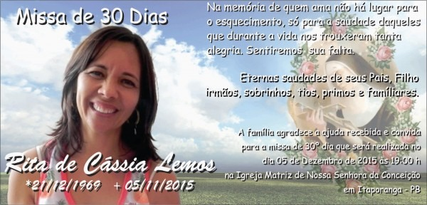 Blog do kadinho  convite missa 30º dia em memória  rita de cássia