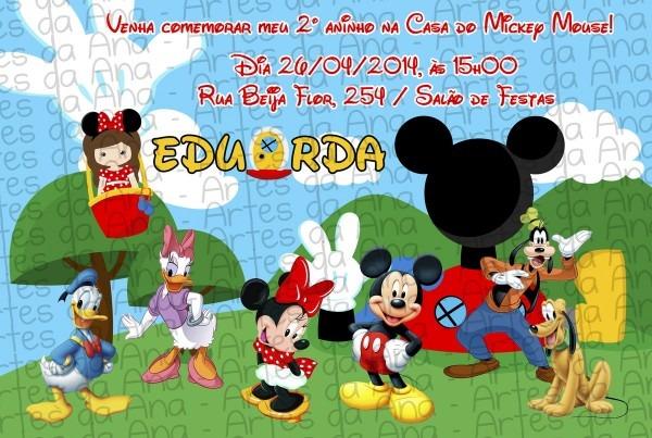 Convite a casa do mickey mouse no elo7