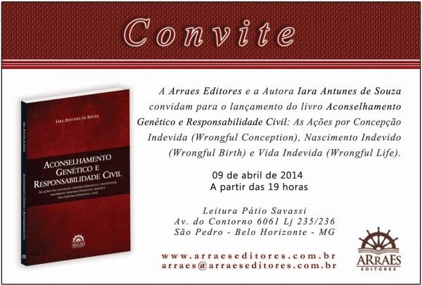 Convite para o lançamento do livro aconselhamento genético e