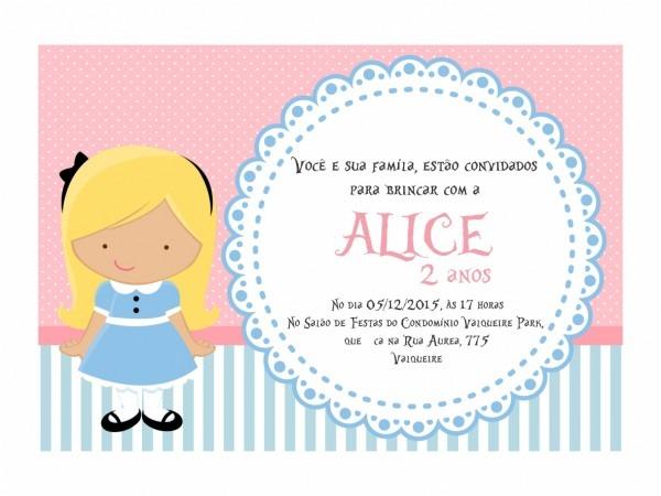 Convite alice no elo7