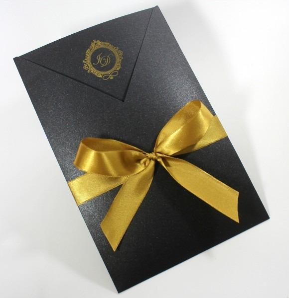 Convite chayme  preto e dourado no elo7