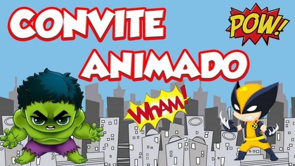 Convite animado super heróis cute no elo7