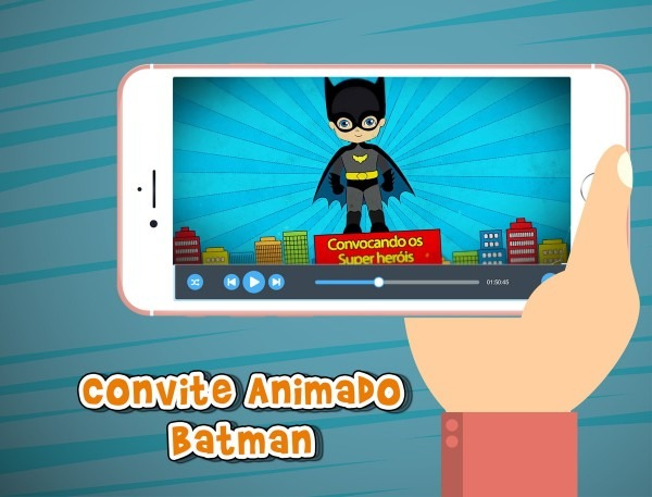 Convite animado virtual batman no elo7