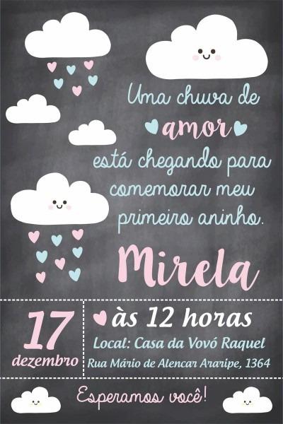 Convite aniversario chuva de amor no elo7