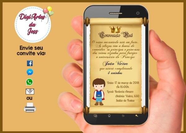 Convite aniversário digital pergaminho do príncipe