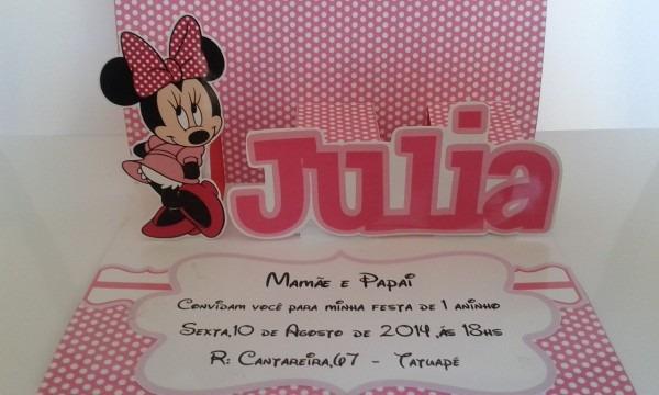 Convite aniversario pop up (3d) minnie rosa (55un)