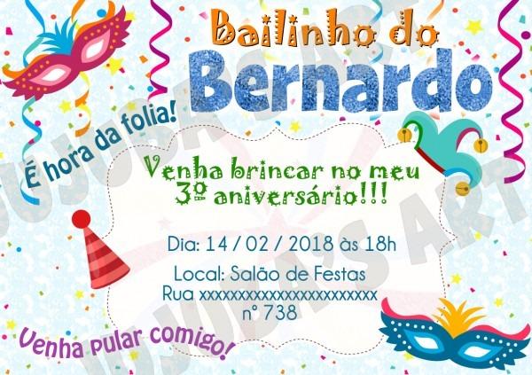 Convite bailinho de carnaval 10x15cm com envelope no elo7