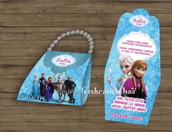 Convite bolsinha frozen no elo7