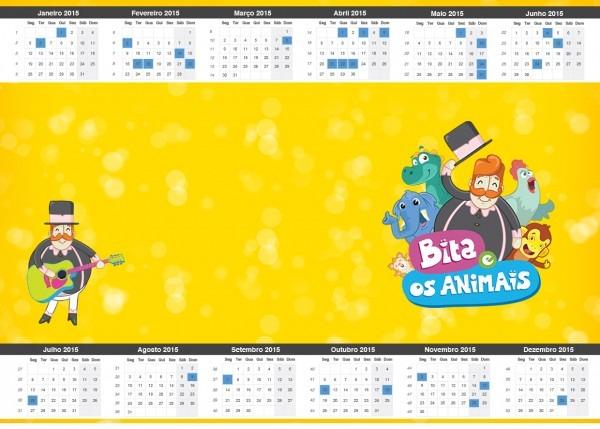 Convite calendário 2015 bita e os animais para meninos