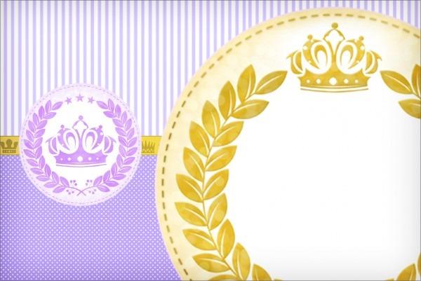 Convite, cartão coroa de princesa lilás