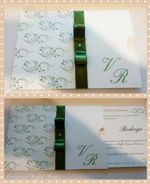 Convite casamento arabesco verde no elo7