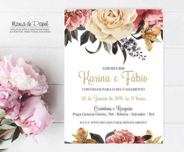 Convite casamento arte pronta (digital) no elo7