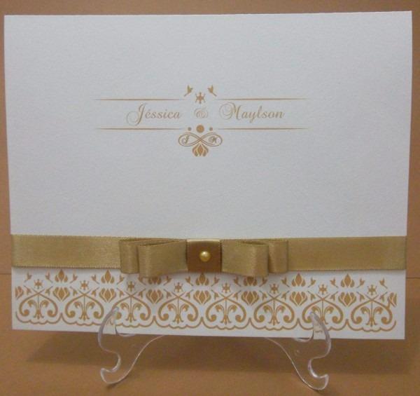 Convite casamento branco e dourado