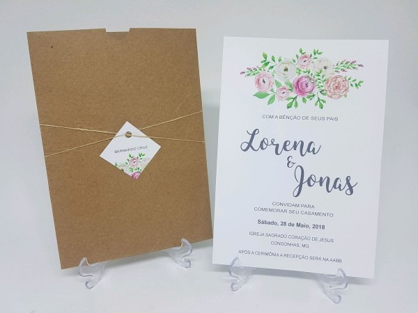 Convite casamento envelope luva floral no elo7