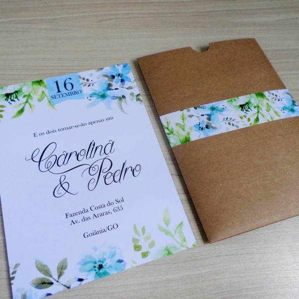 Convite casamento floral + envelope luva kraft (rústico) no elo7