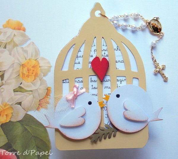 Convite casamento gaiola de pombinhos no elo7