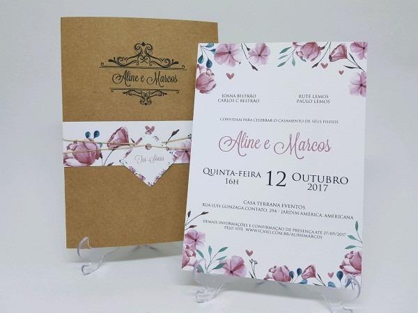 Convite de casamento rustico floral no elo7