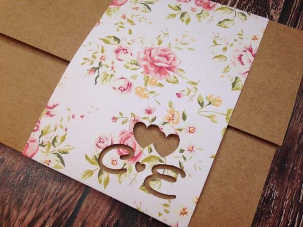 Convite casamento rústico floral rosas