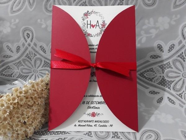 Convite casamento, vermelho noivos envelope, 100 unid