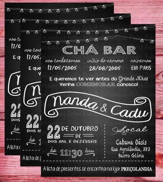Convite chá bar no elo7