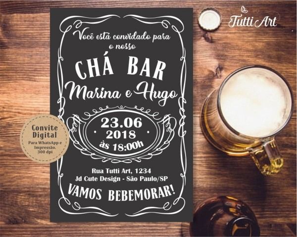 Convite chá bar jack daniels digital no elo7