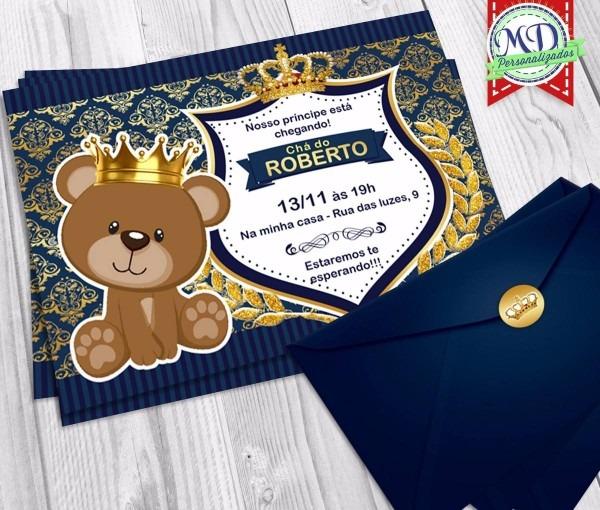 Tag; convite cha de bebe azul marinho e dourado
